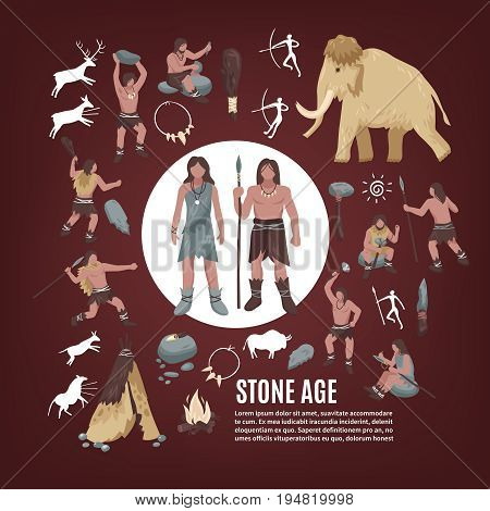 Stone age people icons set with weapon flat isolated vector illustration
