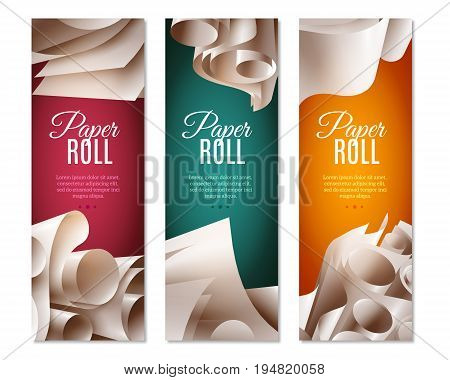 Realistic set of three colorful vertical banners with 3d blank paper rolls and text field isolated on white background vector illustration