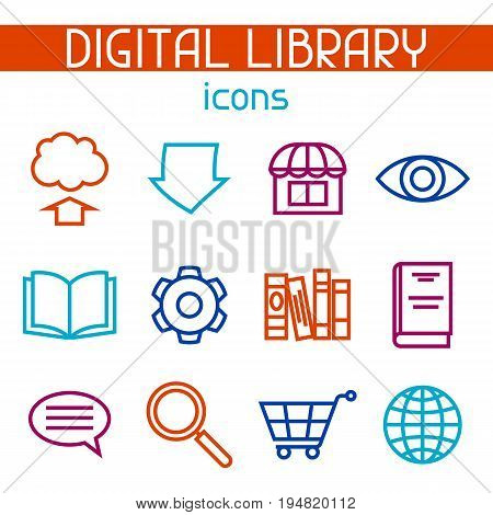 Digital library icon set. E-books, reading and downloading.
