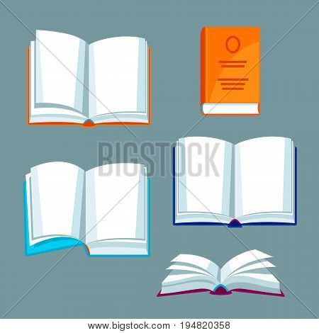 Set of open books. Illustrations for education and school.