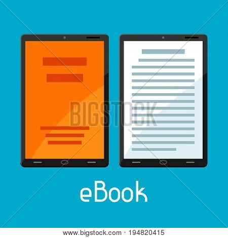 E-book concept. Tablets with book. Digital library online reading.