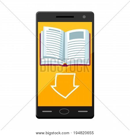 E-book concept. Smart phone and downloading book.