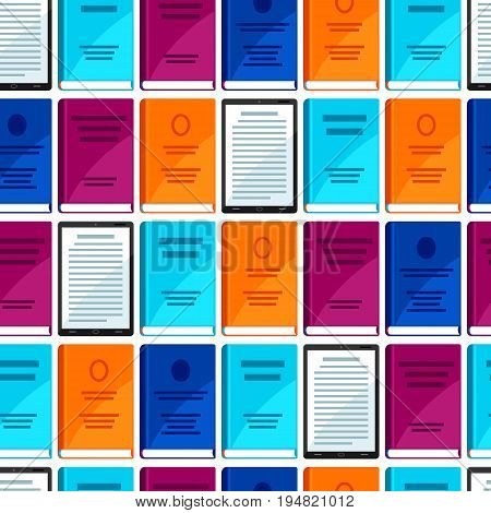 Digital library seamless pattern. Set of books and tablets.