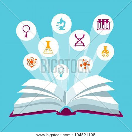 Open book concepr with education icons. Illustration for schools and educational institutions.