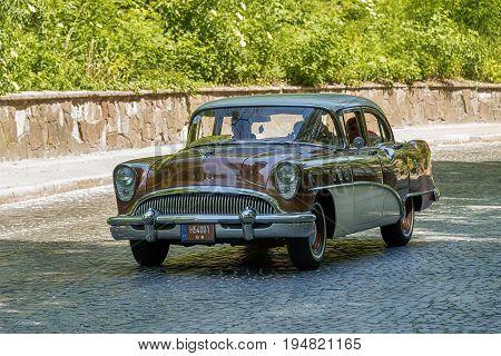 Lviv Ukraine - June 4 2017:Old retro car Buick Special taking participation in race Leopolis grand prix 2017 Ukraine.