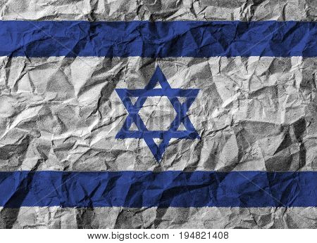 Israel flag with high detail of crumpled paper . 3D illustration .