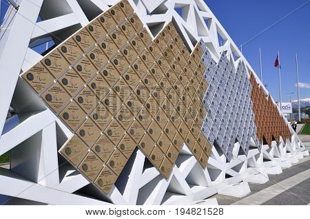 Russia Sochi Olympic Park - April 29 2017: The wall of Champions Paralympic games 2014
