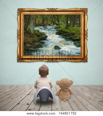 Little baby on potty and teddy bear looking at landscape image