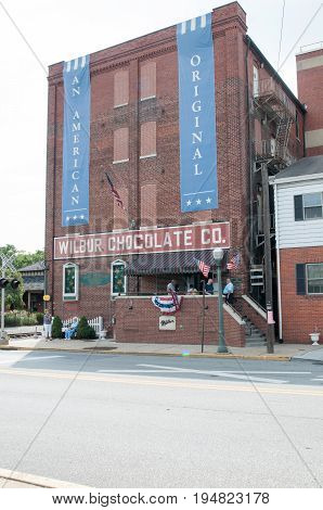 LITITZ, PA - AUGUST 30: View of The famed Wilbur Chocolate Company headquarters on Route 501 in Lititz on August 30, 2014