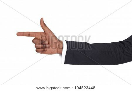 Black male hand point finger. Hand gestures - businessman pointing on virtual object with forefinger, isolated on white background