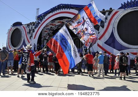 Russia Sochi Olympic Park - April 29 2017: Fans of the Formula 1 Grand Prix of Russia 2017 waiting for autographs Champions