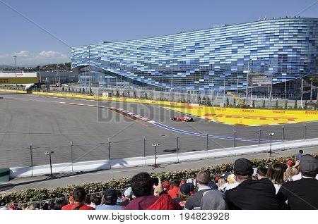 Russia Sochi Sochiautodrom - April 29 2017: Ferrari on the track during the rally the formula 1 Grand Prix of Russia 2017 Sochi