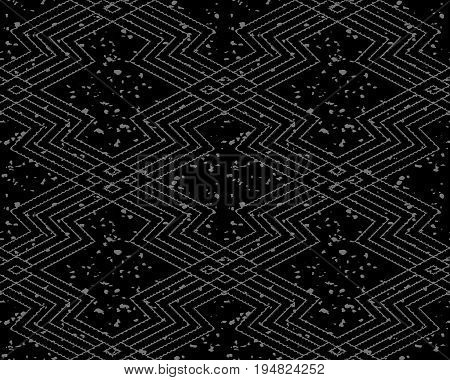 Antique Seamless Silver Background Sawtooth Geometry Cross Line