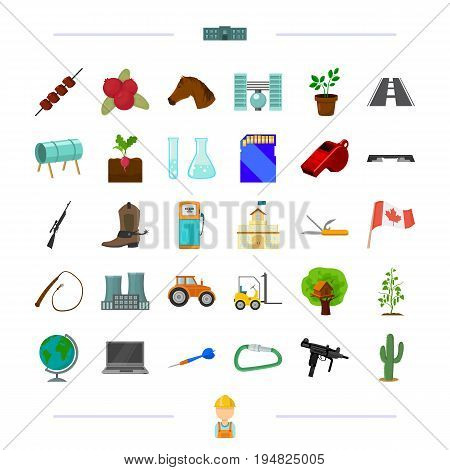 training, transportation, weapons and other  icon in cartoon style.game, Canada, vegetable growing, fitness icons in set collection.