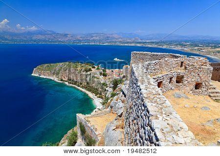 Palamidi castle and Nafplion city, Greece poster