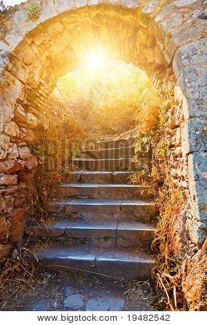 Old stone stairways to the Palamidi fortress, Nafplio, Greece poster