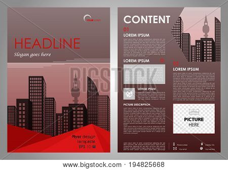 Vector Flyer, Corporate Business, Annual Report, Brochure Design And Cover Presentation With Red Tri