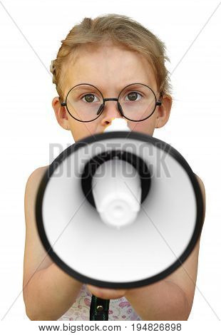 Little Girl Shouting By Megaphone. Isolated On White Background