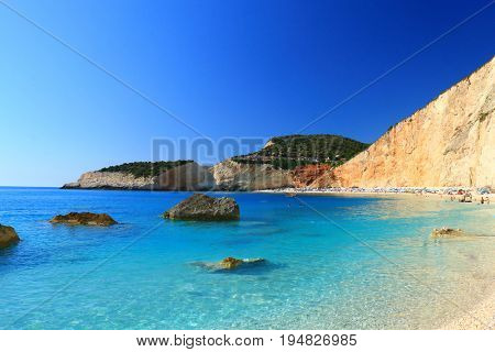 Porto Katsiki beach in Lefkada, Greece