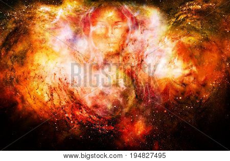 goddess woman and symbol Yin Yang in cosmic space. Fire effect