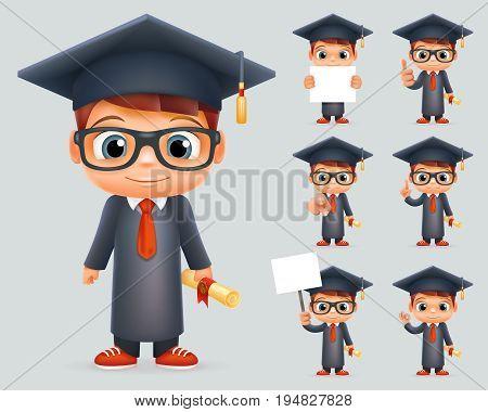 Graduation Cap Excellent Diploma Certificate Student Scroll Genius School Clever Smart Boy Uniform Suit Goggles 3d Character Vector Illustration