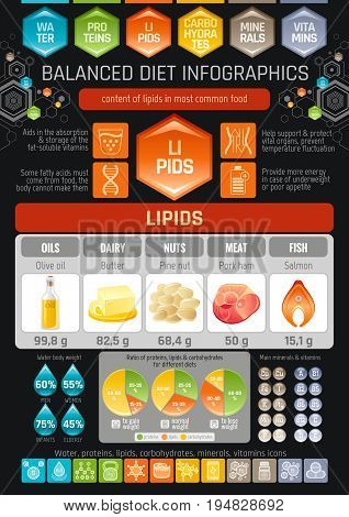 Fat lipids diet infographic diagram poster. Water protein lipid carbohydrate mineral vitamin flat icon set. Table vector illustration human health care, medicine chart. Food Isolated black background