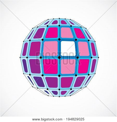 Abstract 3d faceted figure with connected black lines and dots. Vector low poly purple design element created with squares. Cybernetic orb shape with grid and lines mesh.