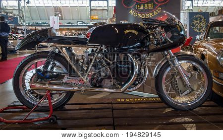 STUTTGART GERMANY - MARCH 17 2016: Racing motorcycle Egli-Vincent 1967. Europe's greatest classic car exhibition