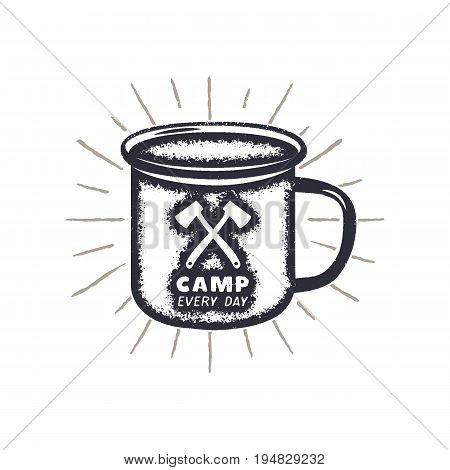 Hand drawn camping mug shape, sunbursts label with motivational quote - Camp every day. Outdoor activity badge. Wilderness print. Stock Vector vintage illustration