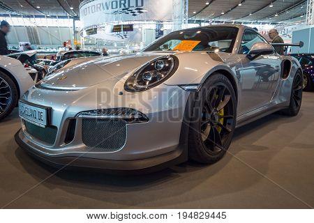 STUTTGART GERMANY - MARCH 17 2016: Sports car Porsche 911 GT3 RS 991 2016. Europe's greatest classic car exhibition