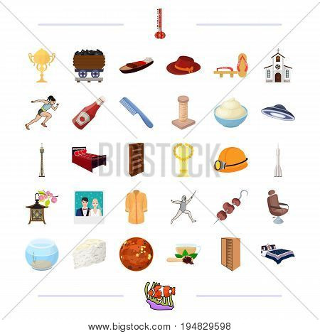 fast food, flightand other  icon in cartoon style.business, production, hobbies, business, production, hobbies,