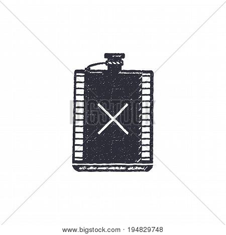 Vintage hand drawn flask shape. Hiking adventure design. Camping icon. Retro monochrome style. Can be used for t shirts, prints, logotype, badges, icons and other identity. Stock vector.