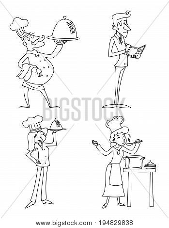 Lineart Male and Female Chief Cook Waiter Garcon Serving Dish and Accepts Order Symbol Icons Food Isolated Retro Vintage Cartoon Design Vector Illustration