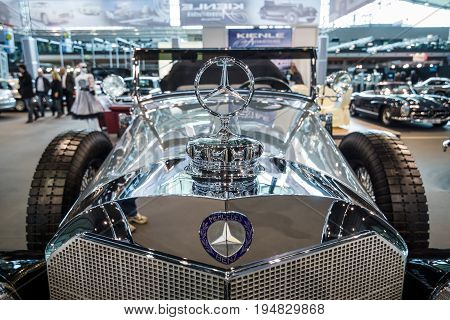 STUTTGART GERMANY - MARCH 17 2016: Fragment of full-size luxury car Mercedes-Benz 770K Cabriolet D (W07) 1931. Europe's greatest classic car exhibition