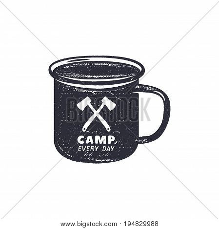 Hand drawn camping mug shape label with motivational quote - Camp every day. Outdoor activity badge. Wilderness print. Stock Vector vintage illustration