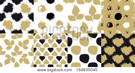 Decorative seamless patterns set with brush drawn circles, hearts, leaves and blobs isolated on golden and white background. Abstract acrylic for creative design. Vector illustration