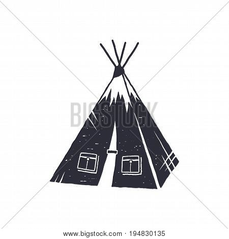 Hand drawn camp tent shape. Indian style tent. Monochrome design. Camping icon, pictogram. Stock vector isolated on white background.