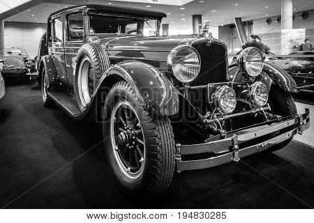 STUTTGART GERMANY - MARCH 17 2016: Vintage car Stutz Vertical Eight Brougham 1927. Black and white. Europe's greatest classic car exhibition