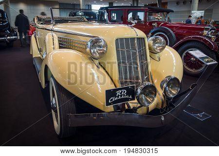 STUTTGART GERMANY - MARCH 17 2016: Vintage car Auburn 852 Phaeton Sedan 1936. Europe's greatest classic car exhibition