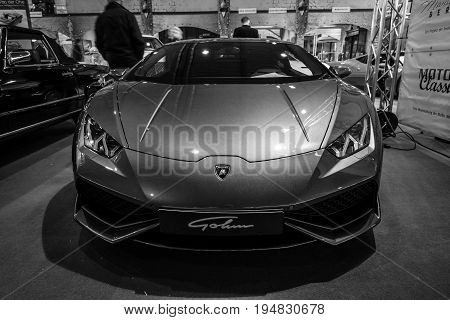 STUTTGART GERMANY - MARCH 17 2016: Sports car Lamborghini Aventador LP 750-4 Superveloce. Black and white. Europe's greatest classic car exhibition