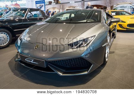 STUTTGART GERMANY - MARCH 17 2016: Sports car Lamborghini Aventador LP 750-4 Superveloce. Europe's greatest classic car exhibition