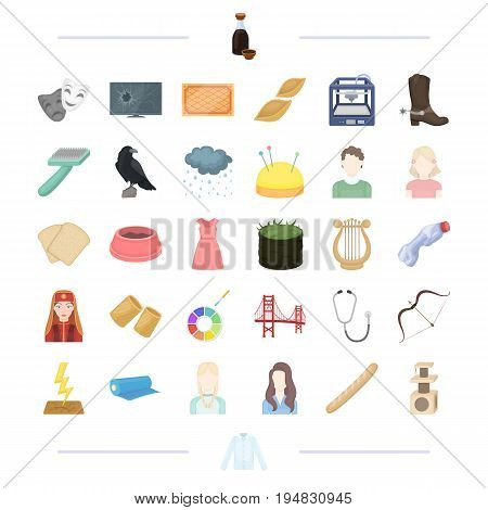 clothes, tool, weather and other  icon in cartoon style. food, travel, theater, appearance icons in set collection.