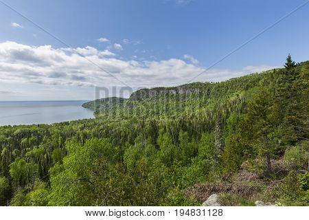 A scenic view of Lake Superior near Grand Portage MN.
