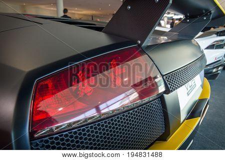 STUTTGART GERMANY - MARCH 17 2016: The rear brake lights of sports car Lamborghini Murcielago PL650R 2007. Europe's greatest classic car exhibition