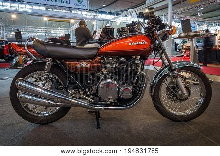 STUTTGART GERMANY - MARCH 17 2016: Motorcycle Kawasaki 900 Z1 1973. Europe's greatest classic car exhibition