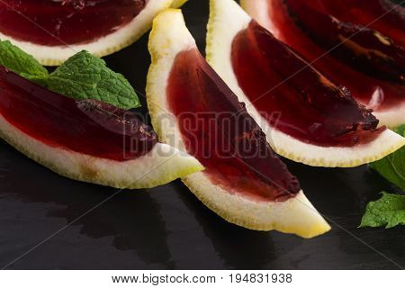 Vodka Jelly (jello) Shots Made Out Of Carved Lemon