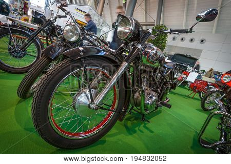 STUTTGART GERMANY - MARCH 17 2016: Motorcycle Horex Regina 1950. Europe's greatest classic car exhibition