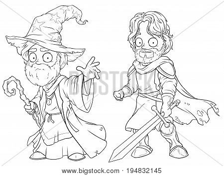 Cartoon medieval wizard and brave knight black and white character vector set for coloring