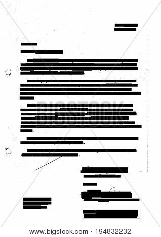 Censored redacted letter with photocopy marks, black and white