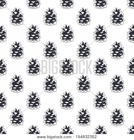 Vintage hand drawn pine cone pattern design. Pinecone seamless wallpaper. Monochrome retro design. Vector illustration. Use for fabric printing, web projects, t-shirts